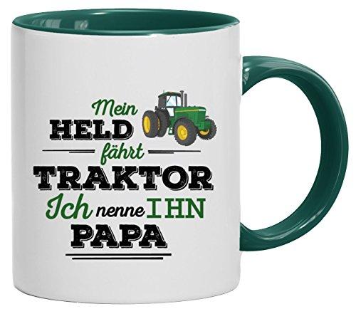 Geschenkidee Landwirt Vatertags Kaffeetasse 2-farbige Tasse Papa - Mein Held fährt Traktor, Größe: onesize,weiß/grün