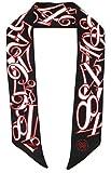 Franck Muller schmaler Seidenschal 90 x 6cm in schwarzer Seide mit Uhrenziffern scarve