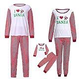 Weihnachten Schlafanzug Familien Outfit Mutter Vater Kind Baby Pajama Langarm Nachtwäsche Print Sleepwear Casual Xmas Gestreift Rundkrage T-Shirt Oberteile Top Lang Hose Set von Innerternet