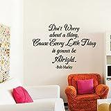 mairgwall motivative Zitat Every Little Thing Is Gonna Be Alright Home Schule Büro Wand Aufkleber, Vinyl, Custom, 39h x