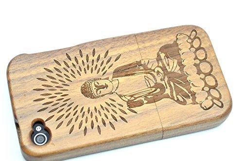 RoseFlower(TM) iPhone 4 / iPhone 4S Holzhülle - Walnuss-Kompass - NatürlicheHandgemachteBambus / Holz Schutzhüllemit Kostenlose Displayschutzfolie für Ihr Smartphone WalnussBuddha
