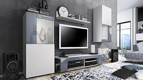 Wohnwand in Weiss matt und Fronten in Weiß matt sowie Grau Hochglanz