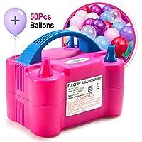 AGPTEK Bomba Eléctrica Inflar Globos, Inflador/Soplador Portátil de Doble Boquilla para Decoraciones en Fiestas - 110V 600W Rojo Rosado