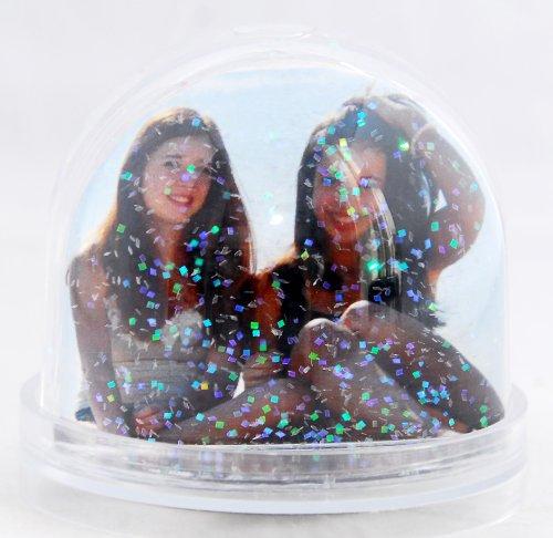 50001 Foto-Schneekugel groß mit Sockel transparent und Glitzer