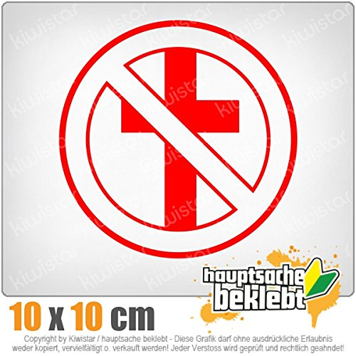 durchgestrichenes Kreuz 11 x 11 cm IN 15 FARBEN - Neon + Chrom! Sticker Aufkleber