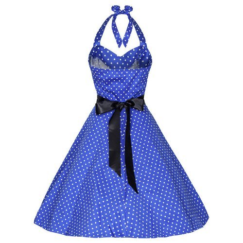 Pretty Kitty Fashion 50s Polka Dot Blau Weiss Neckholder Cocktail Kleid M (12) - 2