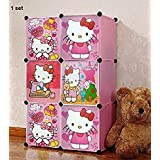 Sajani High Quality Imported Foldable Wardrobe For Kids Cabinet Almirah With 6 Storage Shelves - Gift Toy