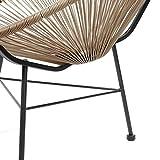 Retro Lounge Sessel Acapulco Mexiko Design Indoor & Outdoor Rahmen & Füße Pulverbeschichtet; Farbe Natur Braun - 4