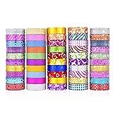 FOONEE 20 Rollen Glitter Washi Tape, farbiges Maskierband, dekoratives Bastelband, Sammlung für DIY und Geschenkverpackung, Kunst, Scrapbook, Tagebuch und Tagesplaner 50 Rolls