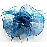 Damen Teal Blau Blumen Feders Vintage Style Fascinator - KCMODE