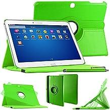 """ebestStar–Para Samsung Galaxy Tab 410.1SM-T530, T531T535–Funda–carcasa de piel PU soporte giratorio 360° + lápiz táctil, color verde [Dimensions precises de votre calentador: 243.4X 176.4X 8mm, pantalla 10.1""""]"""