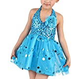 fb4d0f90b8bd uirend Sport Danza Abbigliamento Abiti Bambine Ragazze - Paillettes Gonna  Senza Maniche Halter Dancewear Costume Vestito