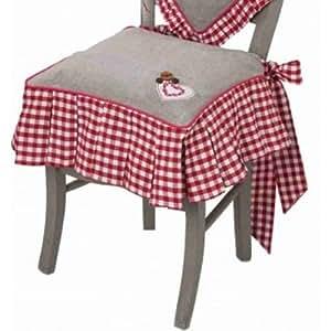 Galette de chaise avec volant vichy rouge