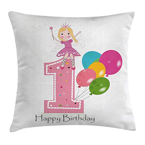 ZTLKFL 1st Birthday Decorations Throw Pillow Cushion Cover, Princess Fairy Party Theme with Wish Wand and Balloons, Decorative Square Accent Pillow Case, 18 X 18 Inches, Light Pink and Lilac Light Pink Double Sided Satin