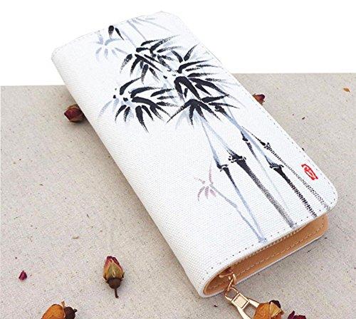 Modakeusu donne lungo portafoglio carta Titolare borsa cerniera fibbia elegante pochette in inchiostro Bamboo White White