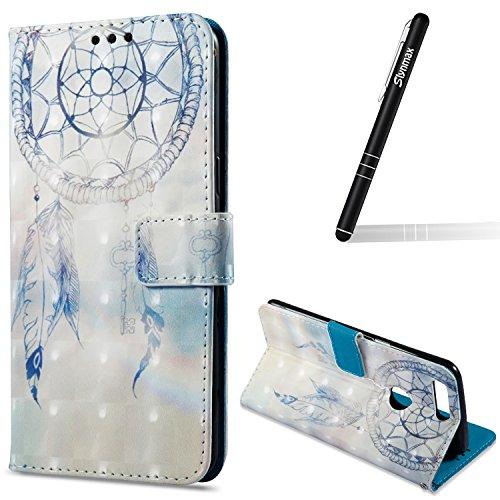 Slynmax Hülle Kompatibel mit OnePlus 5T Ledertasche PU Leder Schutz Flip Case Leder Brieftasche...