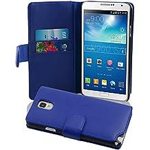 Cadorabo - Funda Samsung Galaxy NOTE 3 (N9005) Book Style de Cuero Sintético Liso en Diseño Libro - Etui Case Cover Carcasa Caja Protección con Tarjetero en AZUL-BRILLANTE