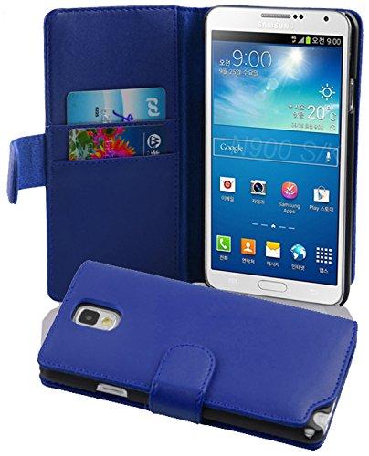 Preisvergleich Produktbild Cadorabo - Book Style Hülle für Samsung Galaxy NOTE 3 (N9005) - Case Cover Schutzhülle Etui Tasche mit Kartenfach in BRILLANT-BLAU