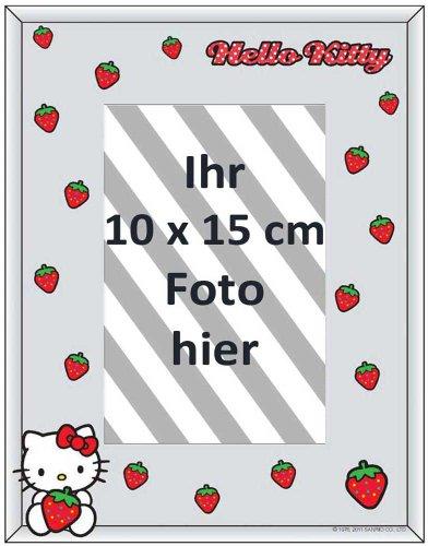 empireposter - Hello Kitty  - Strawberry - Fotorahmen - Größe (cm), ca. 22,8x17,8 - Spiegel Fotorahmen, NEU - Beschreibung: - Bedruckter Spiegel als Tisch- oder Wandfotorahmen, geeignet für Fotos mit einer maximal Grösse von 10x15 cm. -