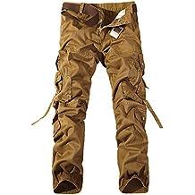 Hombre Washed Multi Bolsillos Militar Cargo Pant Viaje Ocio Pantalones Bronceado 31