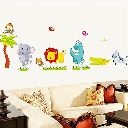 Zooarts Happy Jungle Animal Elefantes extraíble pegatinas de pared Art Decor Calcomanías...
