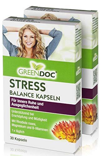 GreenDoc® Stress-Balance Kapseln   mit Rhodiola Rosea + ausgewählte Vitalstoffe   bei Erschöpfung und Müdigkeit   für innere Ruhe und Ausgeglichenheit   Nur 1 Kapsel täglich   2er Pack (60 Kapseln)