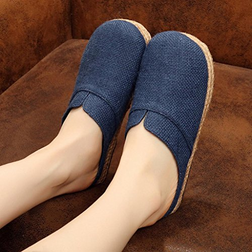 DM&Y 2017 Ms. scarpe di tela vento nazionale pantofole selvaggio di canapa scarpe casual estivi traspirante Baotou Sen navy blue
