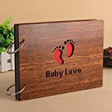 #10: DIY Scrapbook, 8 inch Wooden Cover Photo Album, Baby Shower Scrapbook Book, Baby Shower Guest Book, Baby Shower Milestone Cards with Photo Corner Sticker (Baby Love)