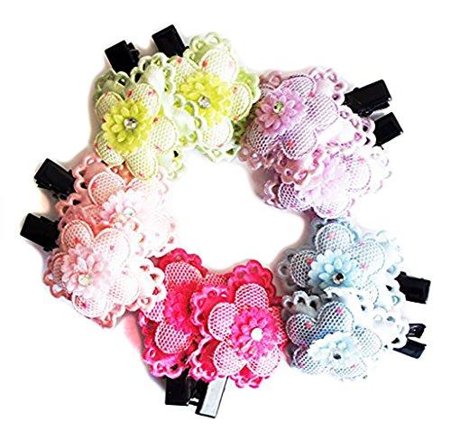HAND FHC05 Beau Clips Tissu Flower Alligator cheveux couleurs assorties Paquet de 5 paires
