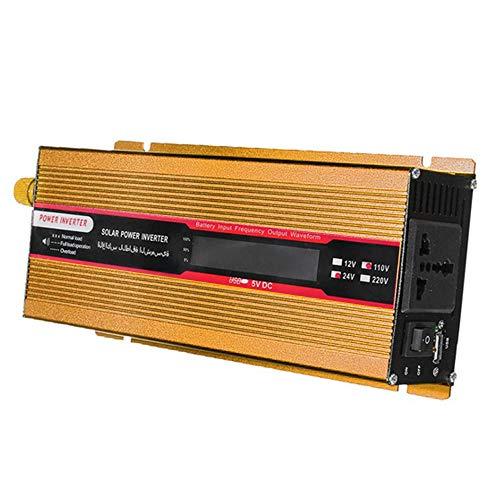 Springdoit Onduleur de Voiture Solaire 1000W, Alimentation à LED sinusoïdale modifiée DC12V à AC220V Haute Performance - Or