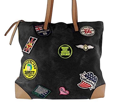 Jeans Shopper mit Sticker, Farben:A, Farbe:Schwarz (Tasche Fendi Neue)