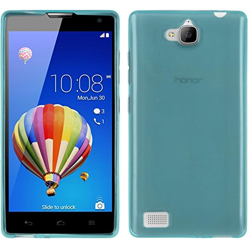 PhoneNatic Case kompatibel mit Huawei Honor 3C - türkis Silikon Hülle transparent + 2 Schutzfolien