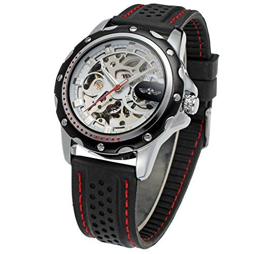WRG8027M3T5Winner marca automático de los hombres vestido de esqueleto original reloj con negro banda de silicona