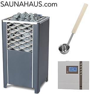 Saunaofen EOS Finnrock incl. Econ D2 Saunasteuergeraet EOS und exklusive Edelstahl-Saunakelle von ARTVION (9.0 kW)