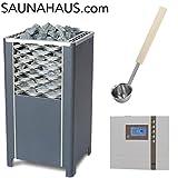 Saunaofen EOS Finnrock incl. Saunasteuergeraet EOS Econ D2 mit Vorwahl und exklusive Edelstahl-Saunakelle von ARTVION (12.0 kW)