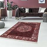myshop24h Druck-Teppich Teppich Waschbar Waschmaschine geeignet Klassisch Vintage Bordeaux Zeitlos Ornamente, Größe in cm:130x190cm