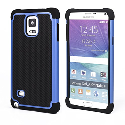 Bracevor Triple Layer Defender Hard Shell Hybrid Case Grip Back Cover for Samsung Galaxy Note 4 - Blue  available at amazon for Rs.299