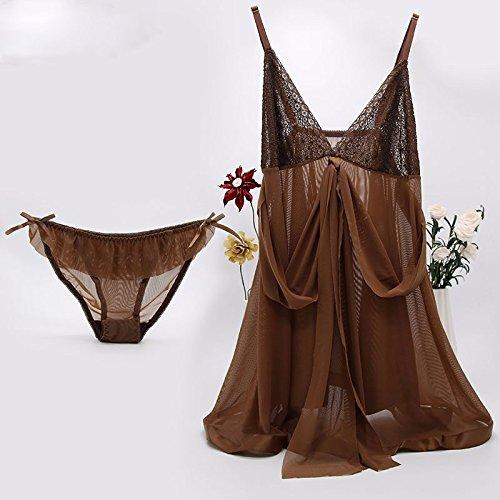 lpkone-Maille d'été tentation lingerie transparente d'épices chemise robe dentelle porte jarretelles lingerie sexy, Marron Brown