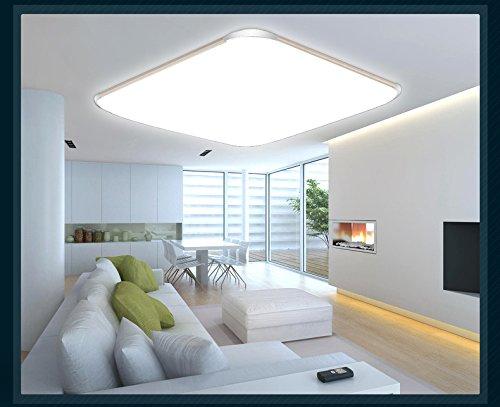 Plafoniera LED 6086, colore argento, con telecomando per colore luce/luminosità, regolabile, extra sottile 10 cm moderno 6086-39x39cm 15W