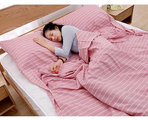 Voyage à travers le sac de couchage en coton sale sac de couchage Ultra léger voyage Voyage couverture lit couette Hôtel anti-sale sac de couchage 160 cm * 210 cm , pink
