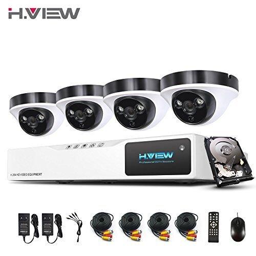 1080P Überwachungskamera System H.View 8CH AHD DVR und 4 Außen 1080P Dome Überwachungskamera Set für Innen und Außen 1TB Festplatte Bewegungsmelder IR Nachtsicht (Dvr-kamera-system)