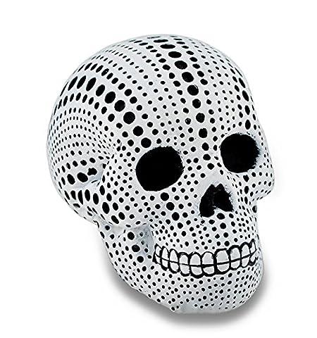 Weiß und Schwarz gepunktet mini Menschlicher Schädel Statue 3,5in.