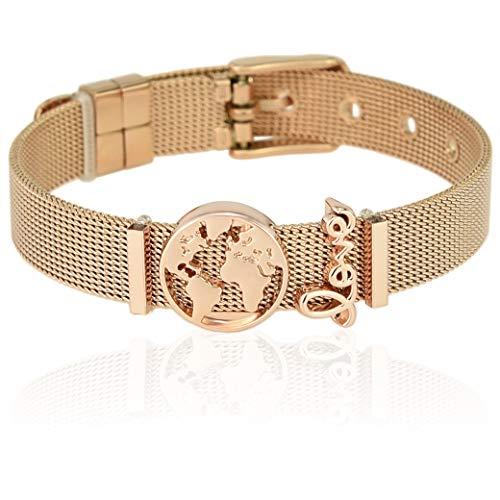 SUNIANA® - Mesh Armband Set mit Charms ♥Travellove♥ individuell erweiterbar| Charmband (Rosegold) (Mesh Schmuck)