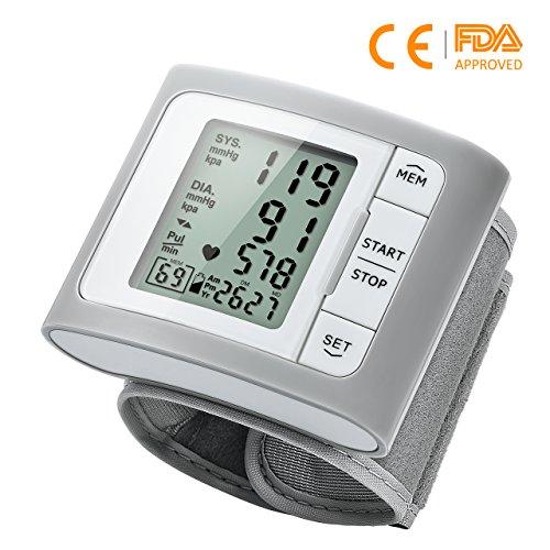【Versione Aggiornata】Mpow Misuratore di Pressione da Polso, MEMS Sensore di Pressione, 2*60 Memorie, Rilevatore di Battito Irregolare, Bracciale (13,5 cm-21,5 cm), Operazione di Un-Tasto, Display LCD