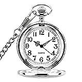 WIOR Taschenuhr Vintage Gravur Taschenuhr Quarz Mechanische Rom Nummer fobwatch für Herren Damen mit Kette + Geschenk-Box(Silber)