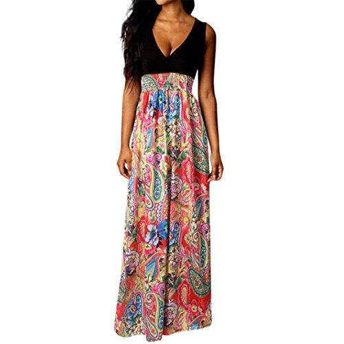 Kleid 2018 Sommer Heißer Verkauf Boho Maxi Tiefem V-ausschnitt Strand Lange Cocktailparty Beiläufige Bleistift Floral Party Abendkleid (EU 40 / Asien XL, D) ()