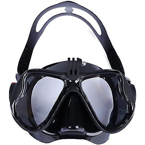 VILISUN Maschera Snorkeling Subacquea o Immersioni, Anti-appannamento Anti-pertite Vetro Temperato Ampia Visibilità, Cinturino Silicone Morbido Regolabile Maschera da sub Unisex COMPATIBILE con Camera