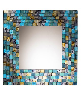 Turquoise and gold mosaic square mirror