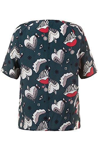 Ulla Popken Damen große Größen | Bluse mit PopArt-Muster | Rundhalsausschnitt | Raglan-Halbarm | Seitenschlitz | bis Größe 62+ | 712261 Petrol