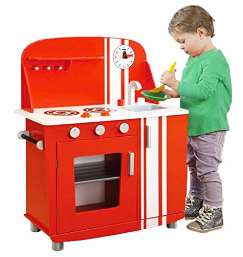 Childs Red Vintage Wooden Kitchen Play Set Oven Sink Hobs Kids Role Play Toy